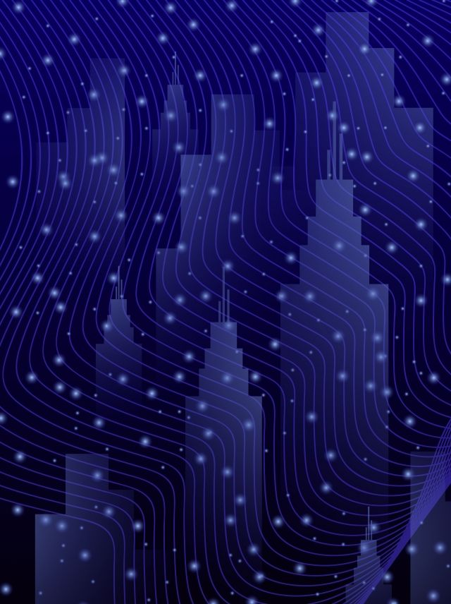 Full Technology Starry City Simple H5 Background