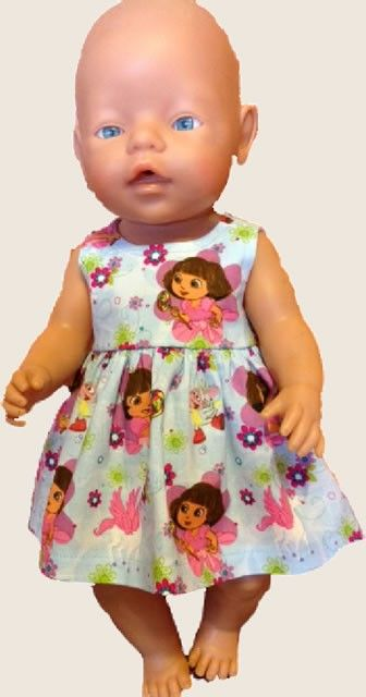 Dress - Dora Fabric - to Fit Baby Born or Cabbage Patch Doll (www.notinshops.com.au) $20.00