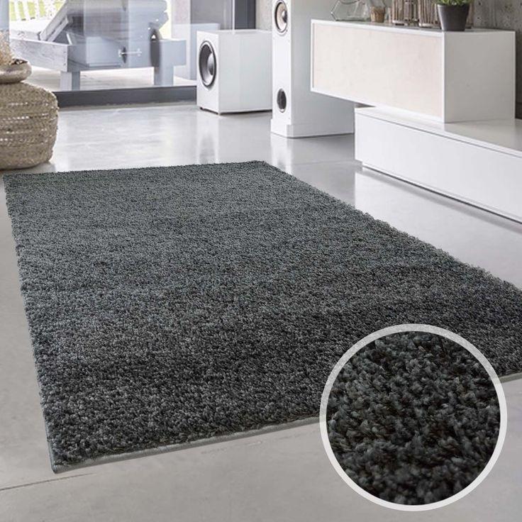 Uni Hochflor Shaggy Teppich Einfarbig Dunkel Grau Neu Ko Tex 120x170 Cm
