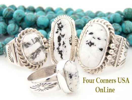 Sacred White Buffalo Stone (White Turquoise) Rings for Men and Women by renowned Native American Artisans to compliment any Style or Budget. ...  http://stores.fourcornersusaonline.com/white-buffalo-turquoise-rings/
