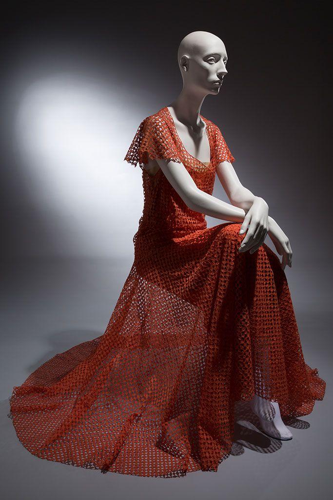 Madeleine Vionnet orange cotton cutwork dress, circa 1932, Paris