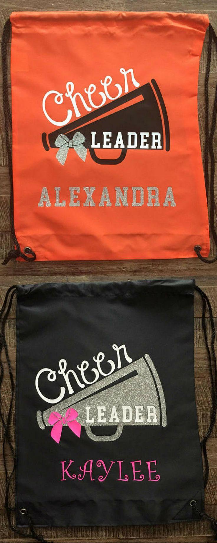$18. Cheerleader Glitter Megaphone Drawstring Bag/Backpack, Cheer Bag #cheerleading #ad