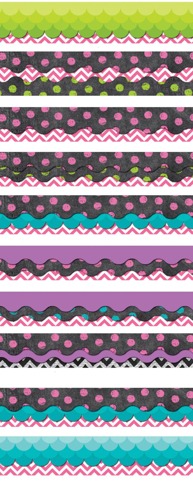 Check out some interesting border combinations that our bloggers came up with!  Perfect for an bulletin board or classroom space.  Lime Green, Turquoise, Pink, Purple and Chalk!