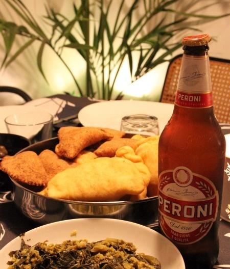 panzerotti e birra Peroni