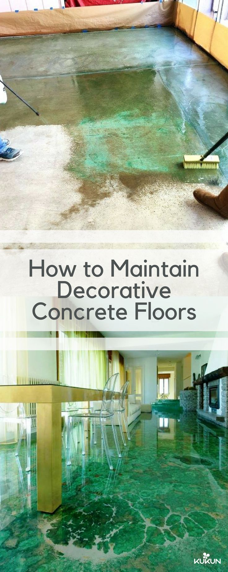 Beautiful and long-lasting, decorative concrete floors have become a popular choice in households because of these traits, but their maintenance is still vital and this article contains all you need to know about it. [Decorative Concrete Flooring, Decorative Concrete Floors, Acid Wash Concrete Flooring, Concrete Floor Ideas, Green Flooring, Concrete Floor Maintenance, Maintenance Guide, Things To Know]