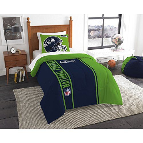 2 Piece Twin NFL Seattle Seahawks Football Team Comforter, Sports Fan Bedding, Football Themed, Featuring Team Logo, Navy Blue Green, Merchandise, Team Spirit, Polyester Material //Price: $58.52 & FREE Shipping //     #bedding
