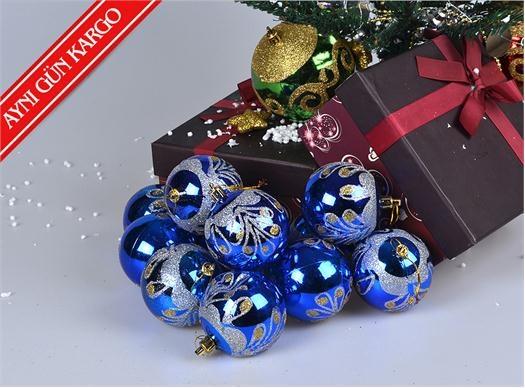 12'li Kaliteli ve Kutulu Mavi Top Süsler -  - Yılbaşı Ürünleri - 10,99 TL | markapella