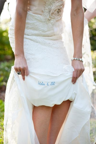 """Embroider your wedding date for your """"something blue."""""""