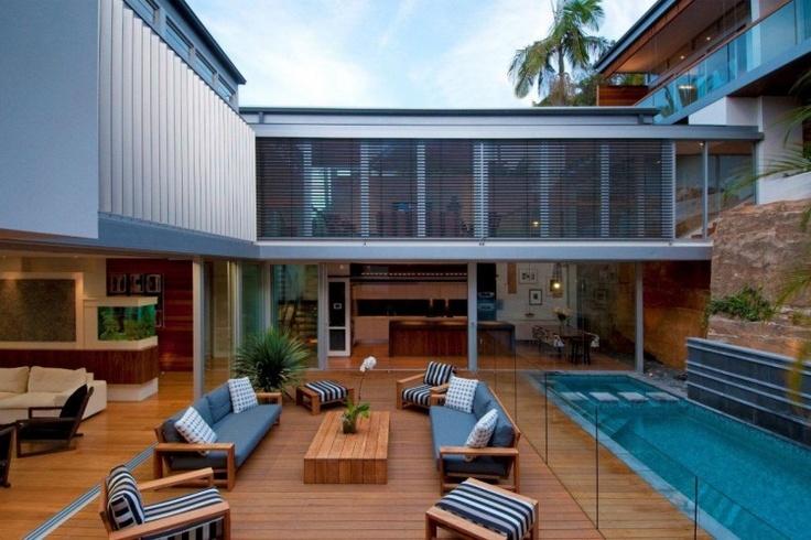 inner courtyard pool & seating