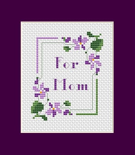 Violets For Mom free cross stitch pattern
