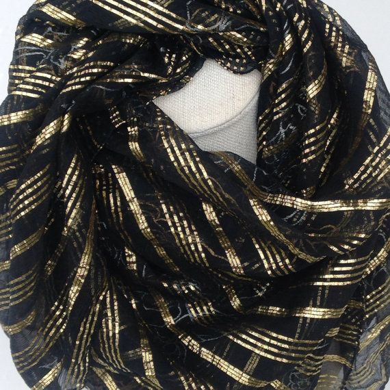 Check out Black Gold lurex silk square shawl Black Gold Foil silk scarf, Gold Floral Stripes scarf, gift for teacher or wife, Christmas Gift, Babushka on blingscarves