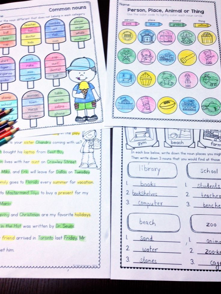 Common and Proper Nouns Worksheets and Sort