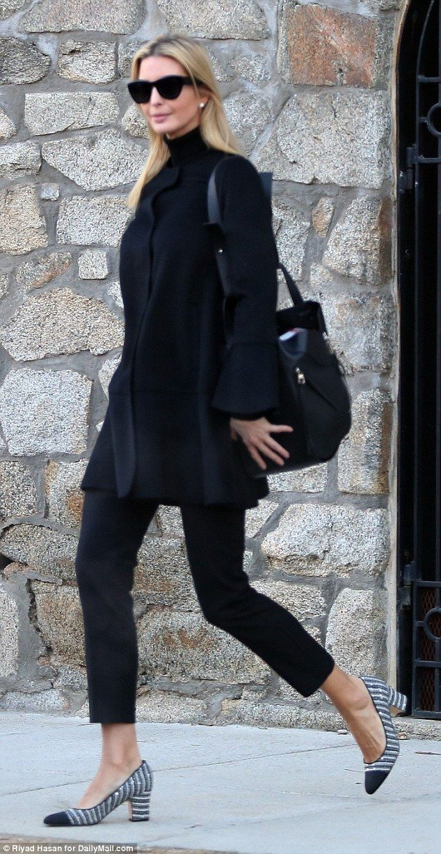 Dress code: Ivanka Trump cut a somber silhouette as she stepped out in an all-black outfit on Monday morning