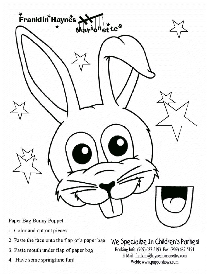 lunch bag template | Paper Bag Bunny Puppet Pattern