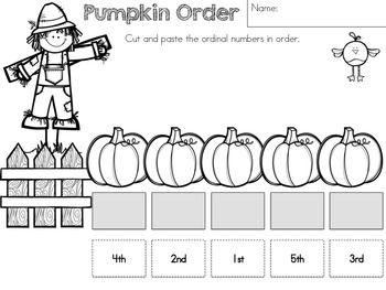 Pumpkin Order - Ordinal Numbers >> Autumn Number Revision Worksheets Freebie