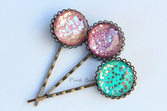 Set of 3 Gorgeous Hand Painted Glitter Hair Pins by PinkkBunnyy, $12.00