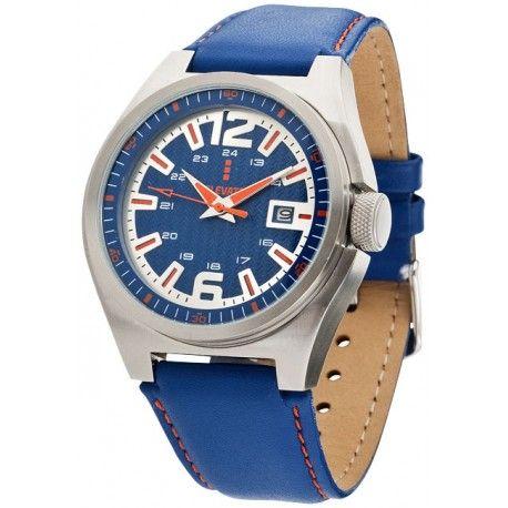 Ceas de mana Elevate Carleton albastru. Design modern, functie de data, curea din piele naturala. Baterii incluse. Ambalat in cutie cadou. 3.5x25.5 cm108 gr