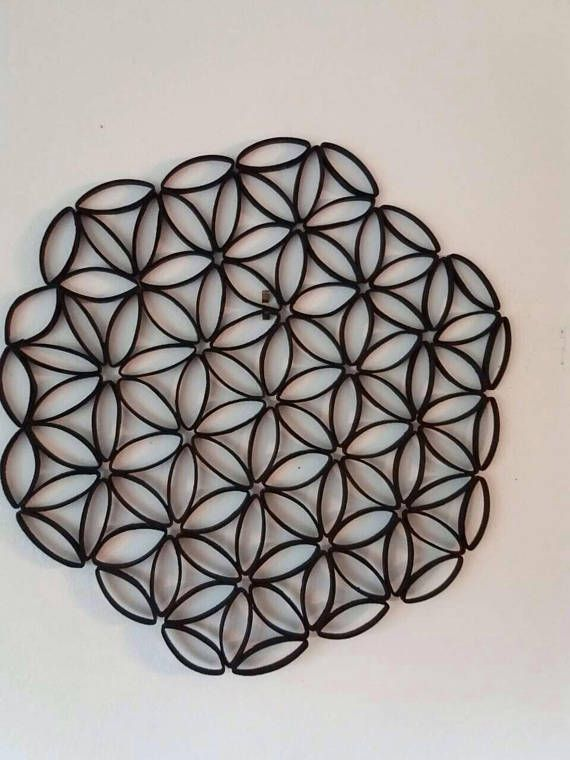 Flower Of Life Wall Art Black Wall Hanging Paper Quilling Flower