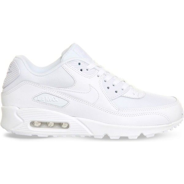 NIKE Air Max 90 leather trainers ($125) ❤ liked on Polyvore featuring shoes, sneakers, white mono, nike sneakers, white sneakers, nike, lace up shoes and white leather shoes