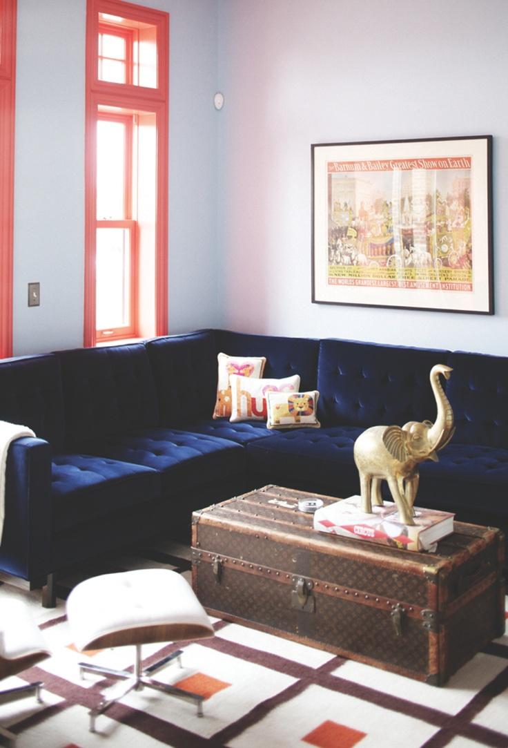 jonathan adler pillows: Coffee Tables, Living Rooms, Blue Couch, Blue Sofas, Bluevelvet, Memorial Tables, Velvet Sofas, Blue Velvet Couch, Window Frames