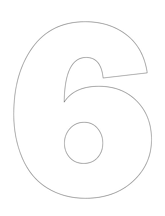 Number Pictures to Color: Number 6 Coloring Page