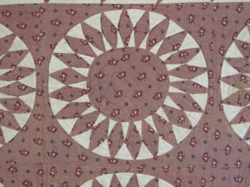 EARLY-1840-60s-Sunburst-Compass-Circles-Antique-QUILT-Brown-FLYING-GEESE-Amazing