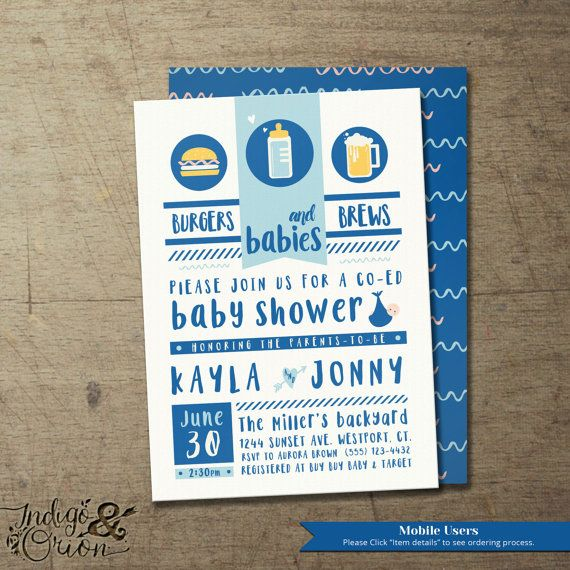 burgers brews and babies coed baby shower invitation babyq custom design by