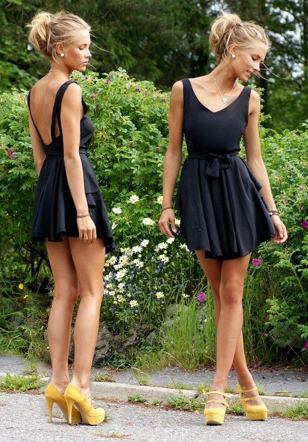 Open back dress w/ mustard shoes