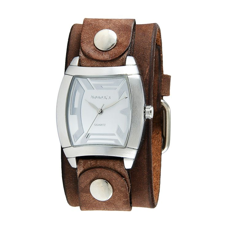 Nemesis Women S Rugged Watch With Brown Leather Cuff Band