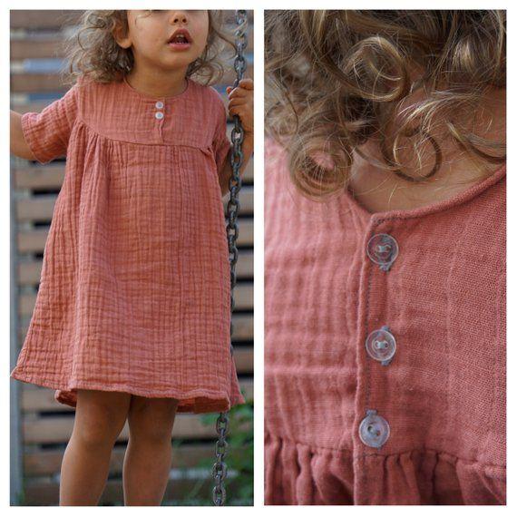 Dress Muslin Dust Red Muslin Dress Baby Girl Clothes Kids Outfits