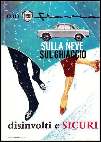 PUBBLICITA' 1962 LANCIA FLAVIA AUTO CAR ANTONIO FESSIA CASTAGNERO NEVE GHIACCIO