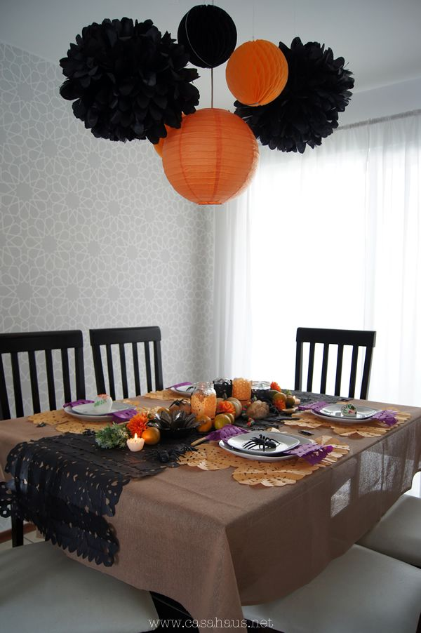 halloween day of dead table setting mesa de halloween y da de muertos