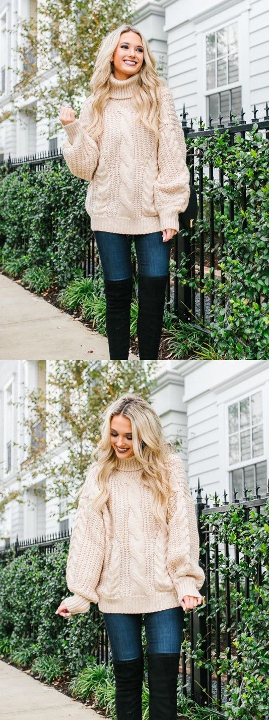 Champagne & Chanel clothing line is amazing. This chunky sweater looks soo cozy. #aff