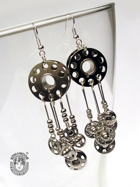 Spool Earrings.. this would be so cool to wear to a quilt or craft show :)))