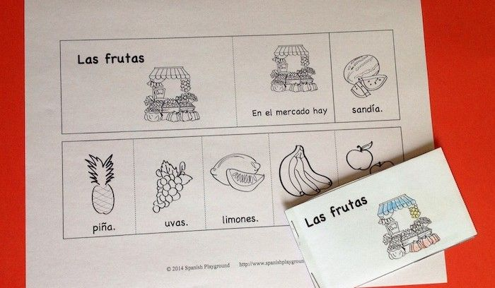 This Spanish flip book is an easy way for students to practice using vocabulary in common sentence structures.  http://spanishplayground.net/spanish-flip-book-las-frutas/