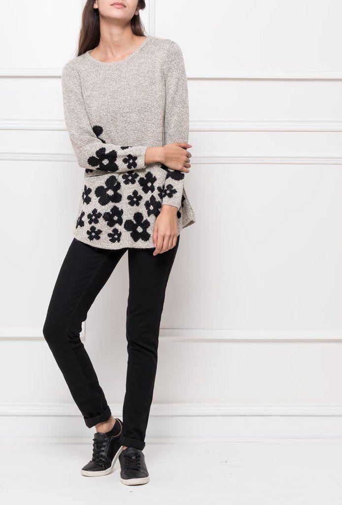 Jersey Flowers Beige - Ana Conde Moda