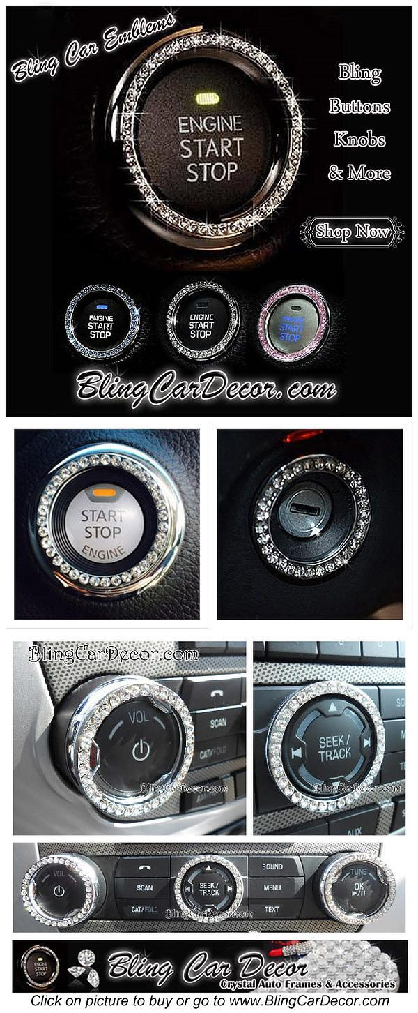 Shop Bling Car Emblem Stickers. Dazzling rhinestone bling rings for Button & Key Ignitions, Knobs, & More. Crystal car decor accessories for cars, trucks, suv, and more. Available in Colors Silver, Pink & Blue.  ONE SIZE FIT ALL > *No Need To Measure Your Ignition: They are a perfect fit for any standard size auto key and push button ignitions. Only $11.99. > SAVE 10% COUPON CODE: PINME.  http://www.blingcardecor.com