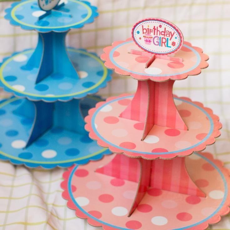 розовая девушка / синий мальчик день рождения, 3 уровня стенд торт, торт