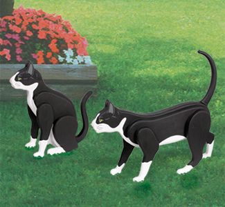 "3D Life-Size Tuxedo Cats Woodcrafting Pattern Aptly named because of their markings, tuxedo cats are intelligent, friendly and make great house pets. Make these two from layers of 3/4"" wood and our full size pattern. Paint as shown or to match your cat's colors. (up to 20"" long)"