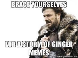 Brace yourself for ginger memes
