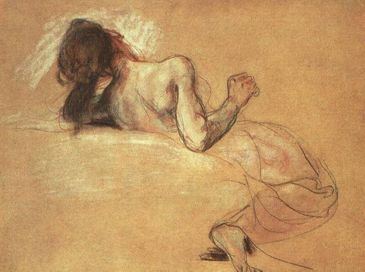 Eugene Delacroix, Study for the Death of Sardanapalus, 1827-28.; Pastel with chalk over wash on paper. Art Institute of Chicago.