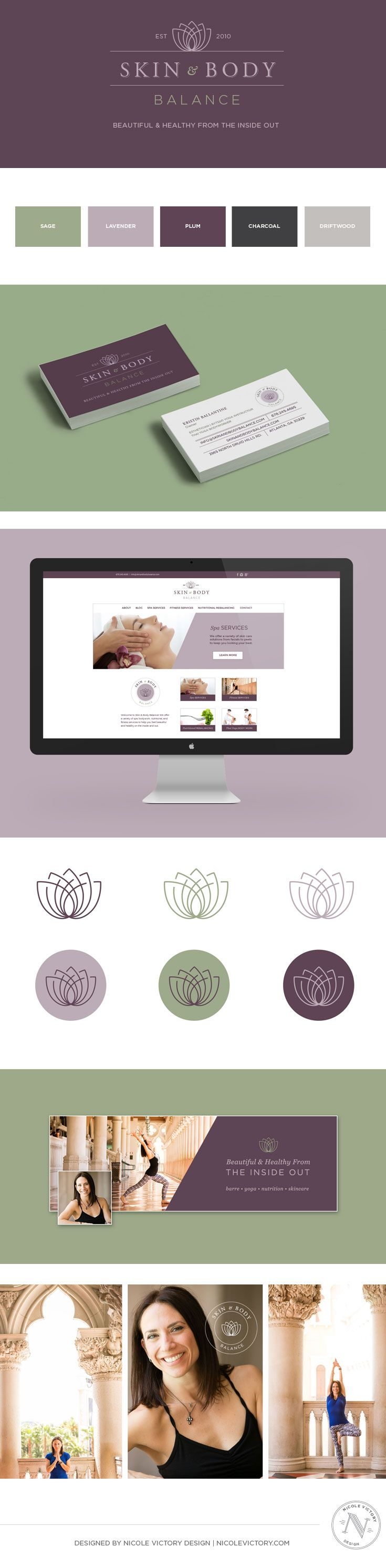 Re-brand for Skin and Body Balance, a spa specializing in skin care services, thai yoga body work, and yoga, barre, and pilates classes in Atlanta, GA. Spa branding, logo design, web design. Fitness services branding, logo design, web design