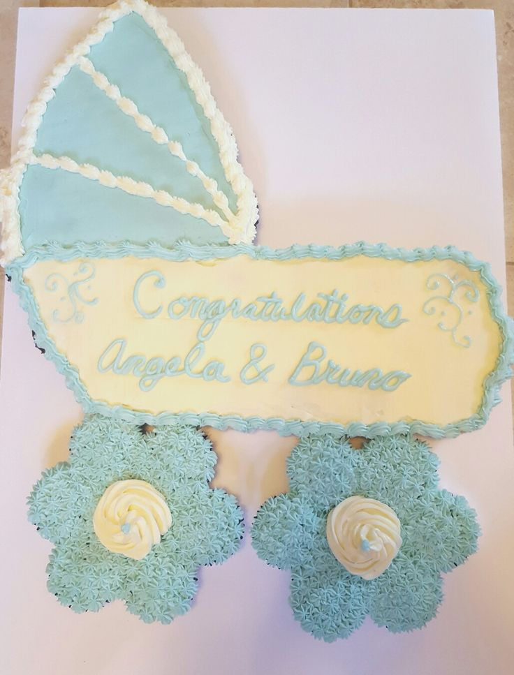 Carriage Cupcake Cake for Baby Shower