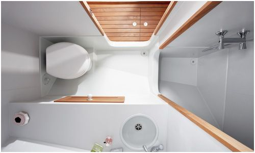 Tiny high-design bathroom. Possibly on a narrowboat?