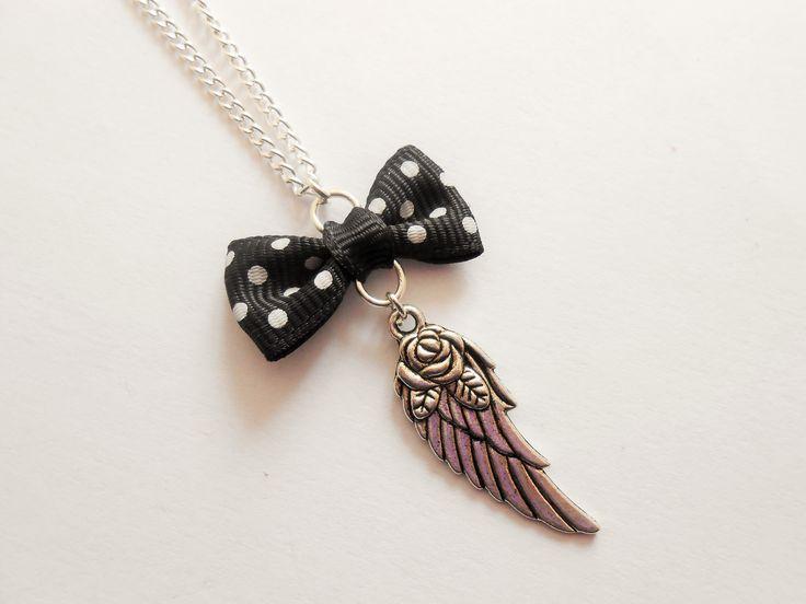 collier aile - collier aile d'ange - collier aile argenté - collier aile d'ange argenté - pendentif aile - collier : Collier par esthete-bijoux