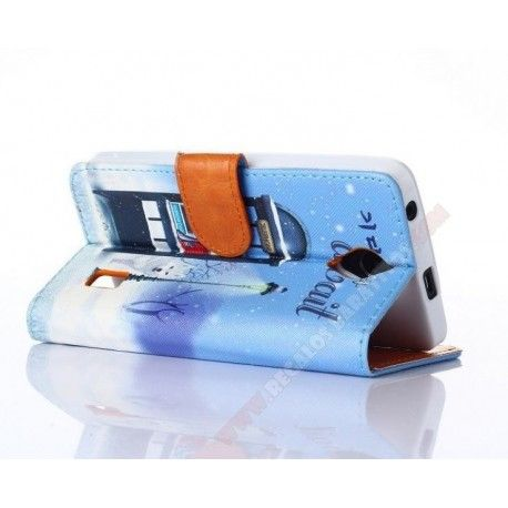 Funda cartera diseño personalizado cabina telefónica para Ascend Y635