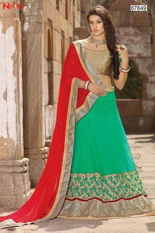 Women's Green Pretty Circular Lehenga Style  #Zinngafashion #Lehengas  #Pretty #Special #Offers #Happy#Shopping #Indianwear   #LatestTrend #Womenswear #Designwear #Nice #Picoftheday #Wonderful