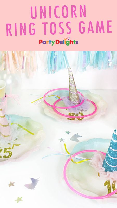 Looking for unicorn party game ideas? Have a go at making this fun unicorn ring toss game - full instructions at blog.partydelights.co.uk!