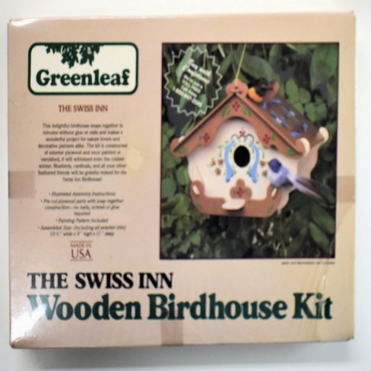 "vintage wooden Swiss Inn bird house kit, 1/8"" exterior plywood, punch out, with painting pattern by TinasMinis on Etsy"