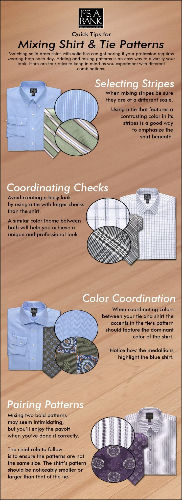 Is your wardrobe more shirt & tie than suit & tie? Here are a few tips on common shirt and tie pattern combinations. (scheduled via http://www.tailwindapp.com?utm_source=pinterest&utm_medium=twpin&utm_content=post10534804&utm_campaign=scheduler_attribution)